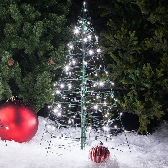White Outdoor Christmas Tree  3 Lighted Cool White LED Outdoor Christmas Tree