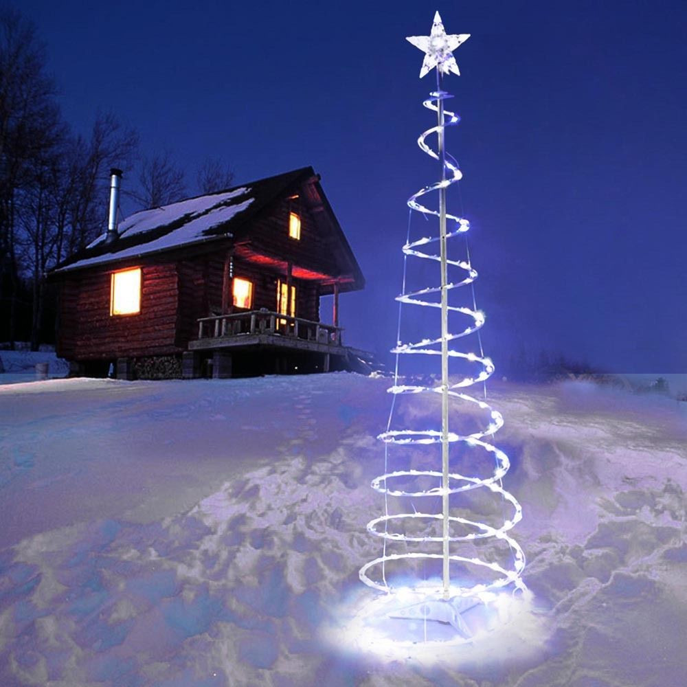 White Outdoor Christmas Tree  5 Spiral Tree LED Christmas Light Cool White In Outdoor