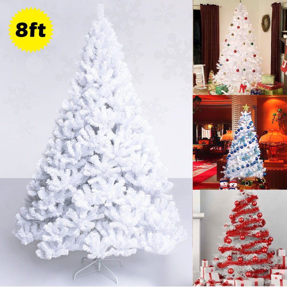 White Outdoor Christmas Tree  8Ft Artificial PVC Christmas Tree W Stand Holiday Season