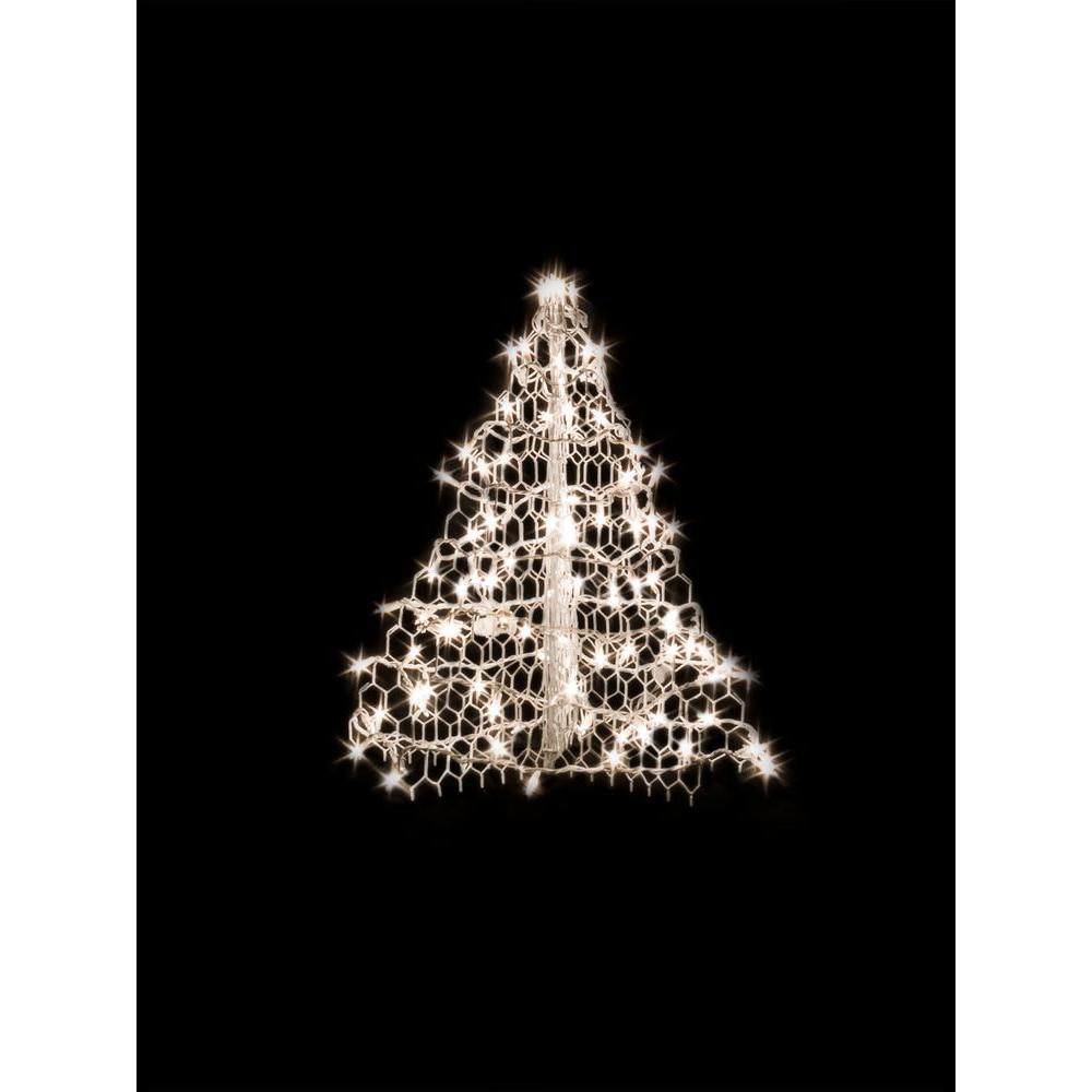 White Outdoor Christmas Tree  8 ft Pre Lit LED 3D Silhouette Tree with 300 Blue Lights