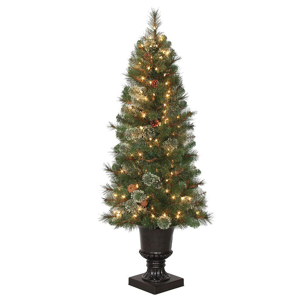 White Outdoor Christmas Tree  4 5 ft Pre Lit LED Alexander Pine Artificial Christmas