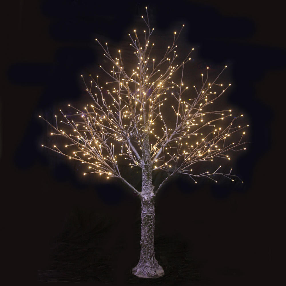 White Outdoor Christmas Tree  Brown Snowy Twig Tree White LED Lights Indoor Outdoor