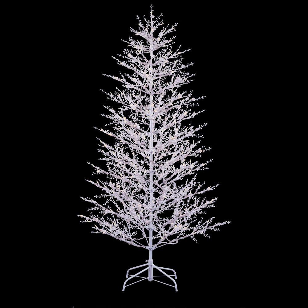 White Outdoor Christmas Tree  GE 7 ft White Winterberry Branch Tree with LED Lights