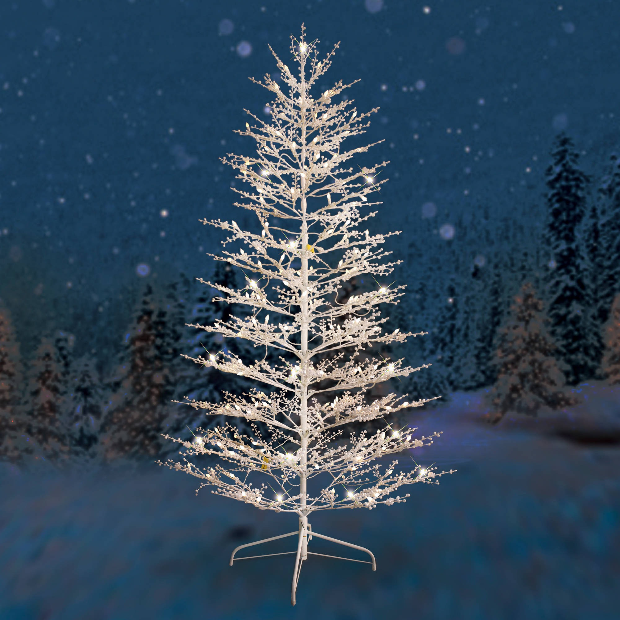 White Outdoor Christmas Tree  Outdoor Pre Lit Christmas Tree