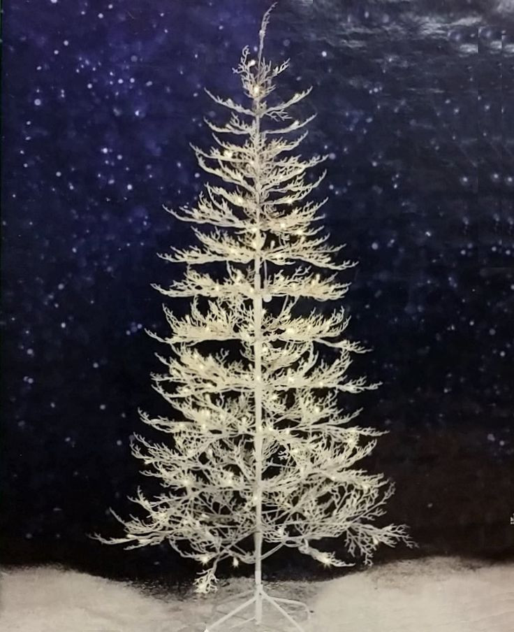 White Outdoor Christmas Tree  7 ft Winter White Twig Tree with LED Lights Indoor