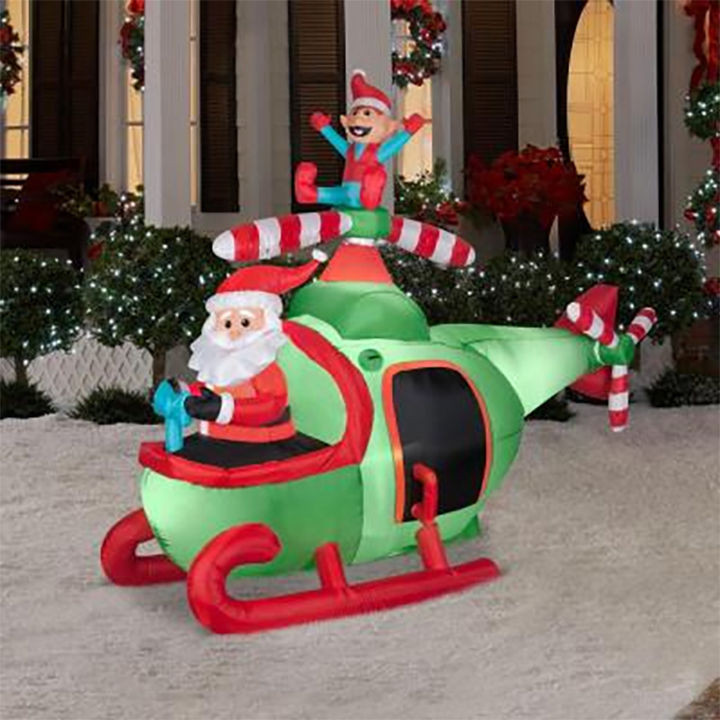 Animated Outdoor Christmas Decorations  8 Animated Santa Helicopter Christmas Inflatable