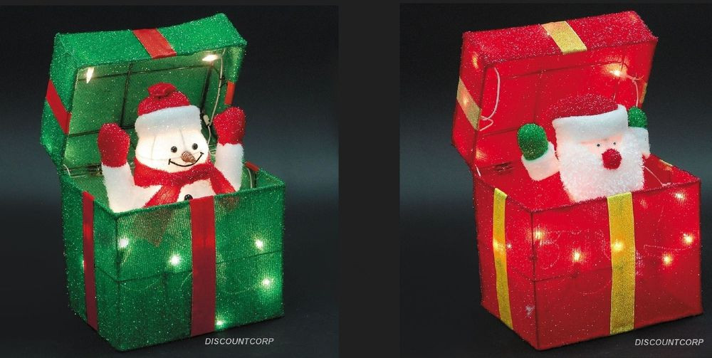Animated Outdoor Christmas Decorations  ANIMATED SANTA OR SNOWMAN LIGHTED GIFT BOX OUTDOOR