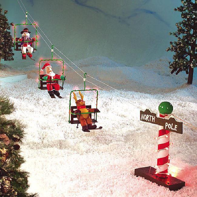 Animated Outdoor Christmas Decorations  RARE Santa Reindeer Snowman Animated Ski Lift Christmas