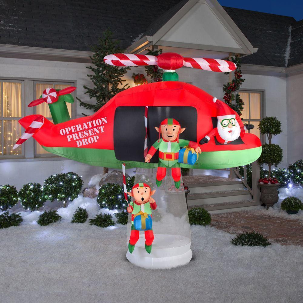 Animated Outdoor Christmas Decorations  Christmas Inflatable Santa Elves Helicopter Animated