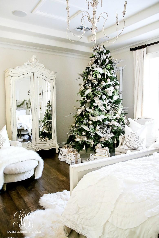 Bedroom Christmas Tree  Deck the Halls Christmas Home Tour Romantic Christmas