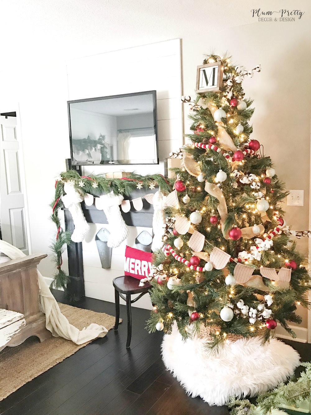 Bedroom Christmas Tree  Plum Pretty Decor & Design Co A Farmhouse Christmas Bedroom