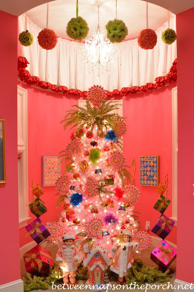Bedroom Christmas Tree  Girl's Pink Bedroom Decorated for Christmas