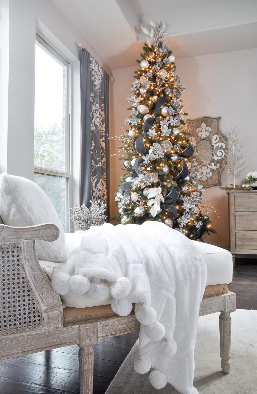 Bedroom Christmas Tree  Deck the Halls Christmas Home Tour Bedroom Decor Gold