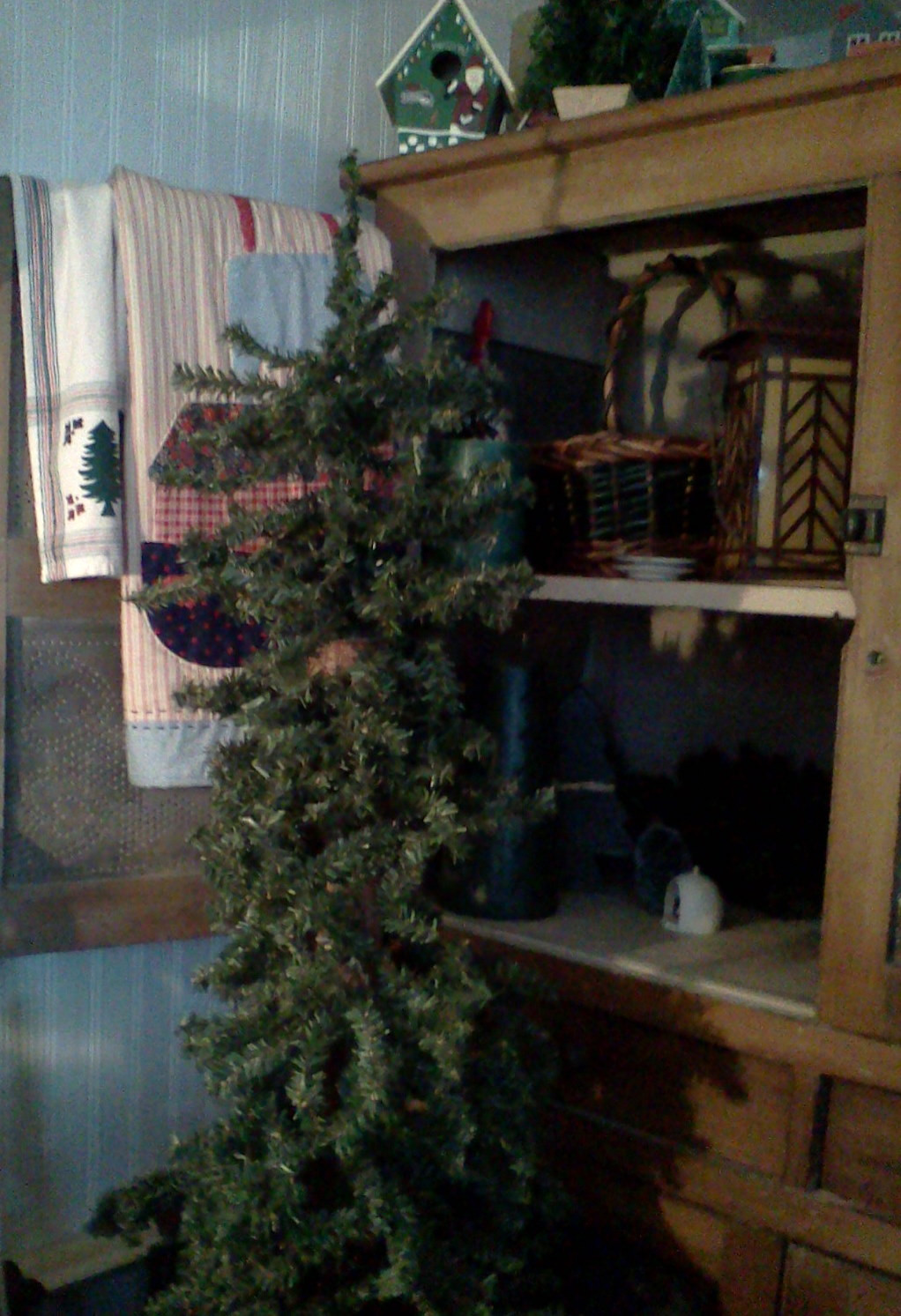 Cabin Christmas Tree  thrifty style at 68 inside our christmas cabin