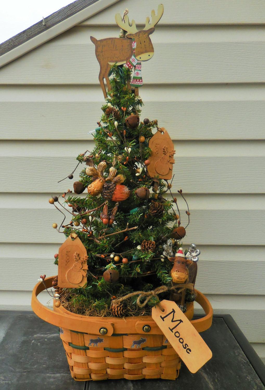 Cabin Christmas Tree  Christmas tree Moose tree tabletop tree rustic Christmas