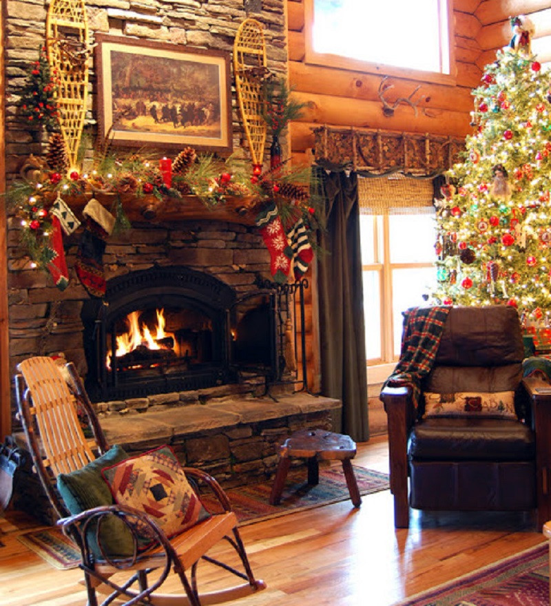 Cabin Christmas Tree  Christmas in a Cozy Log Cabin Country Living