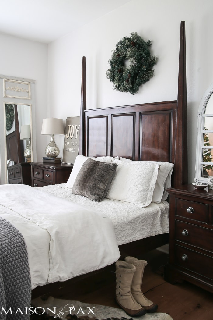 Christmas Bedroom Decorating Ideas  White Christmas Master Bedroom Maison de Pax
