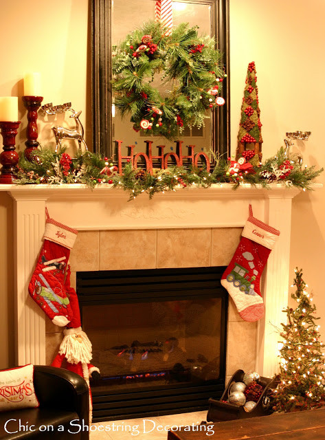 Christmas Decoration Fireplace Mantel  Chic on a Shoestring Decorating Sprucin up my Christmas
