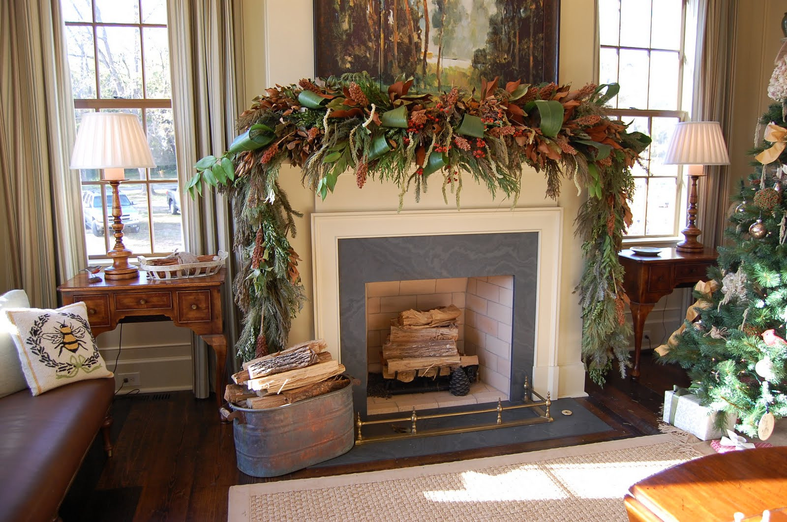 Christmas Decoration Fireplace Mantel  Christmas Mantel Decorated with Natural Greenery in