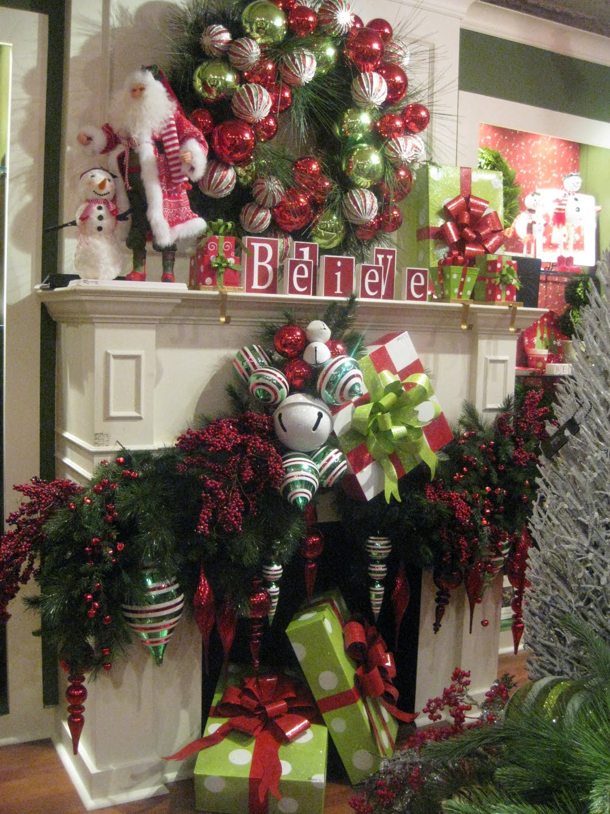Christmas Decoration Fireplace Mantel  Mantels Dressed for Christmas and a Link Party Celebrate