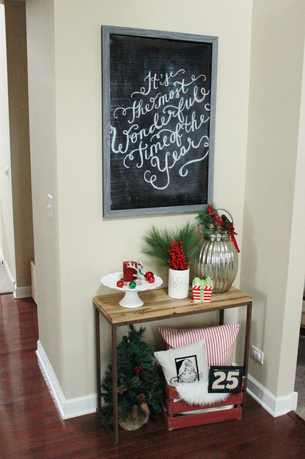 Christmas Entryway Decor  Our Christmas Entryway Holiday Vignette