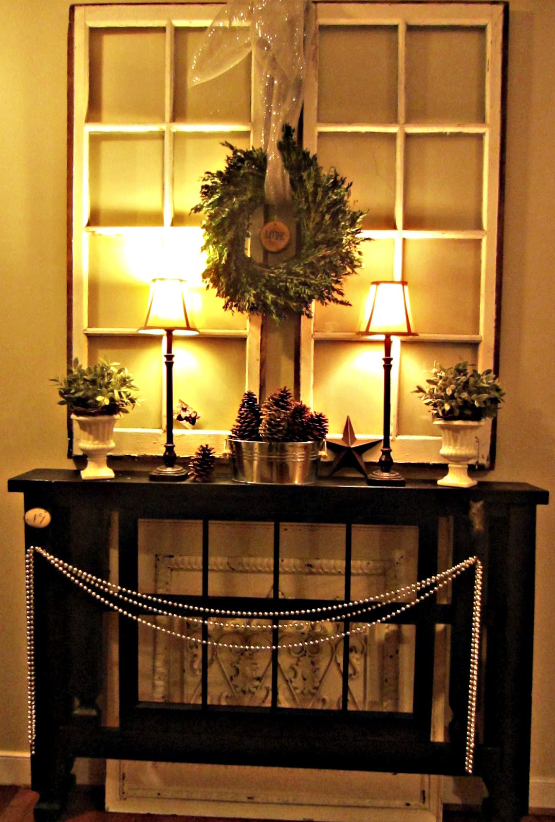 Christmas Entryway Decor  Down to Earth Style Foyer Christmas Mantel
