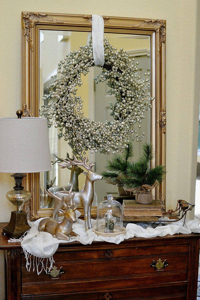 Christmas Entryway Decor  Glam ish Christmas Entry Decor At The Picket Fence