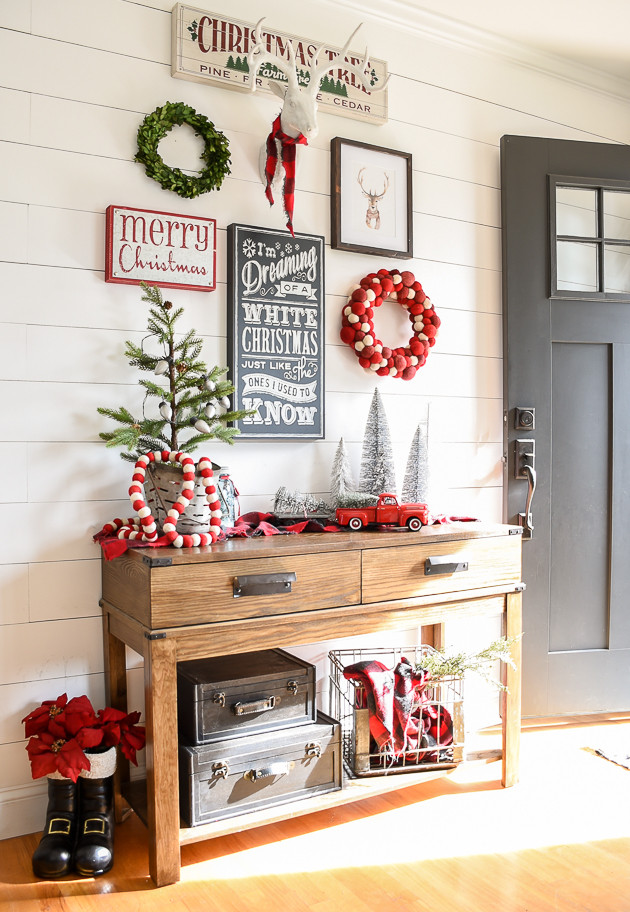 Christmas Entryway Sets  Christmas Entryway and Living Room Tour