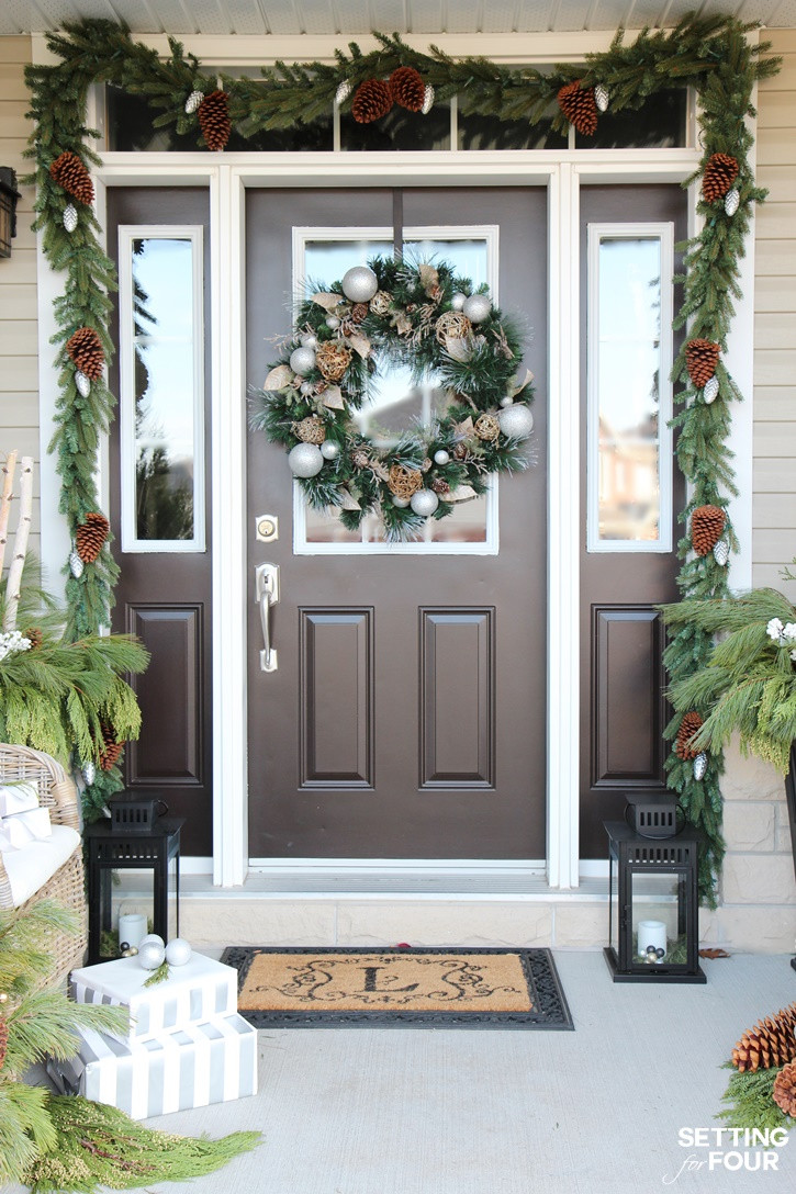 Christmas Entryway Sets  Holiday Cheer Outdoor Christmas Decorations Setting for Four