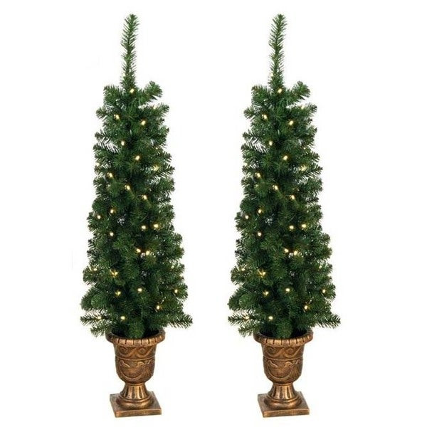 Christmas Entryway Sets  Shop Prelit 4 foot Entryway Porch Tree Set of 2 Free