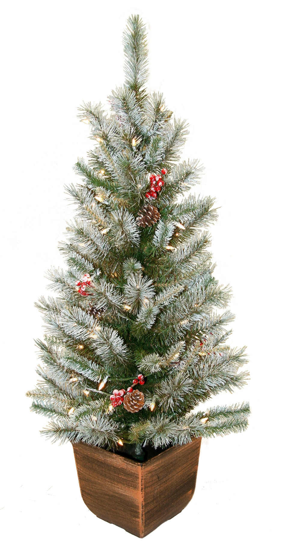 Christmas Entryway Trees  4 Potted Alpine Entryway w 70 Clear Lights Seasonal