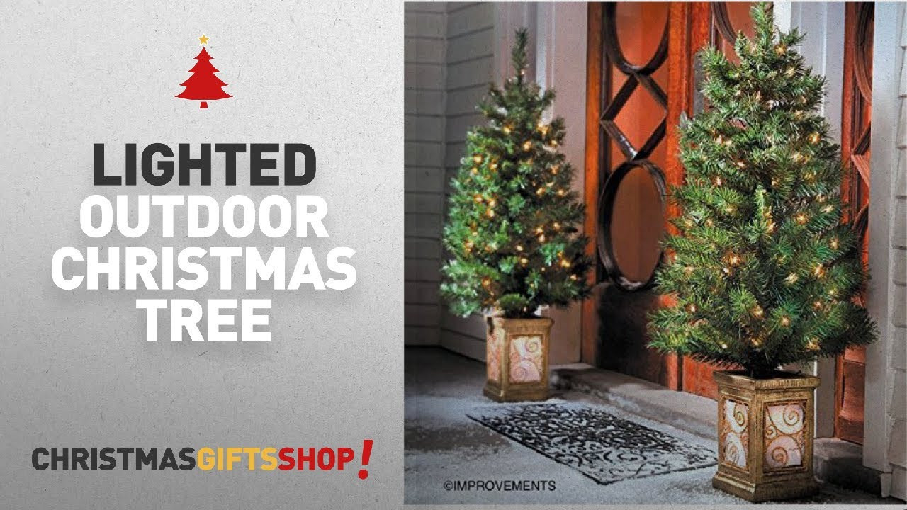 Christmas Entryway Trees  Most Popular Lighted Outdoor Christmas Tree 4 Ft Pre Lit
