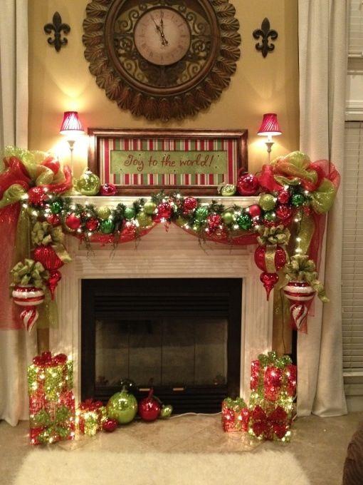 Christmas Fireplace Decor Pinterest  Fireplace mantel decorating Christmas Decor