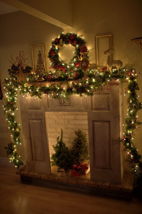 Christmas Fireplace Decor Pinterest  Christmas Mantle Garland to the floor on both sides