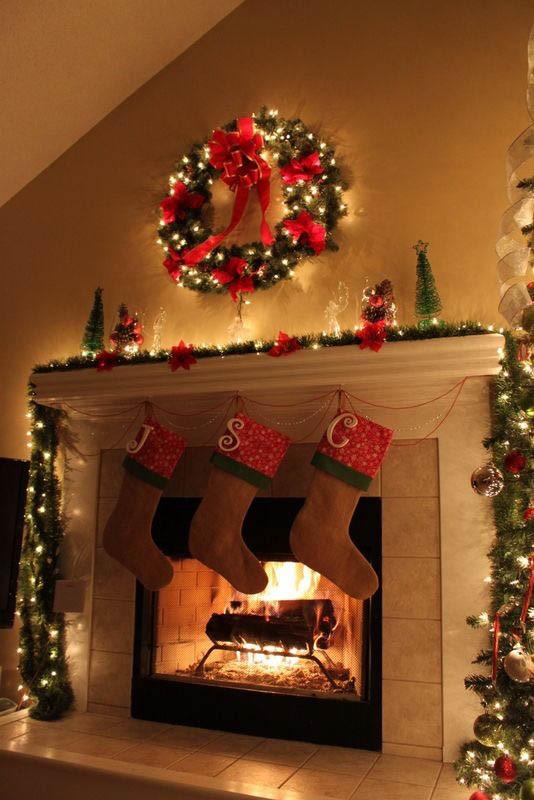 Christmas Fireplace Decor Pinterest  50 Most Beautiful Christmas Fireplace Decorating Ideas