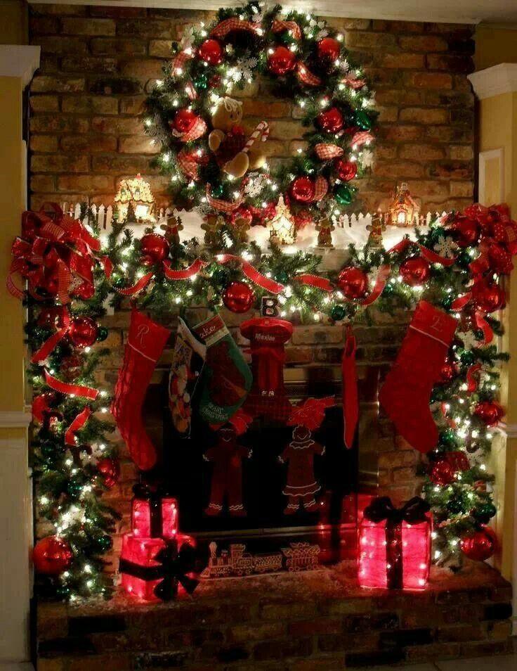 Christmas Fireplace Decor Pinterest  Beautiful mantle CHRISTmas