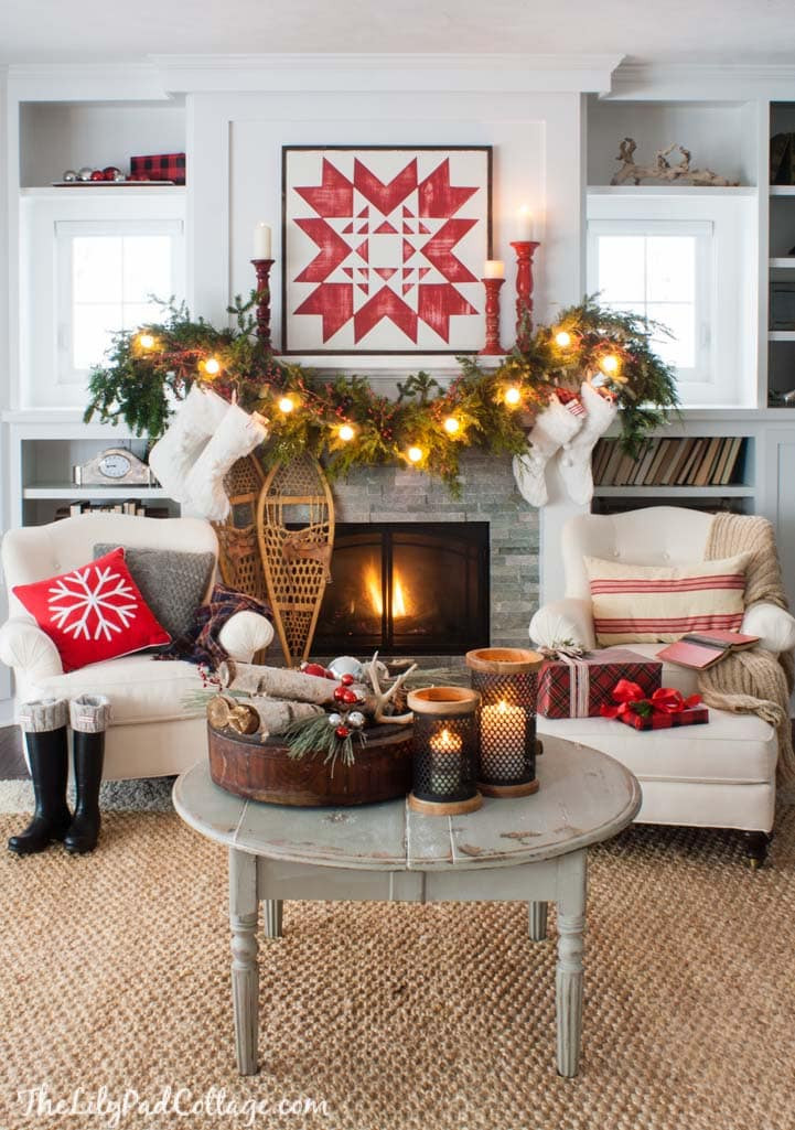 Christmas Fireplace Decor Pinterest  Cozy Quilt Christmas Mantel Decor The Lilypad Cottage