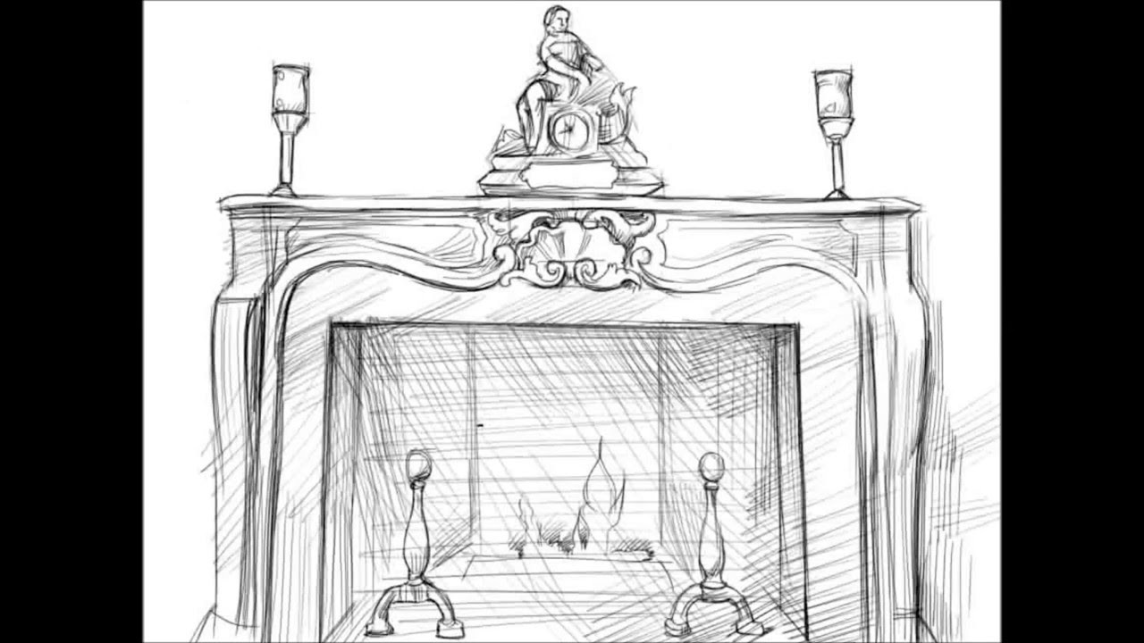 Christmas Fireplace Drawings  Fireplace Christmas Drawings – Festival Collections