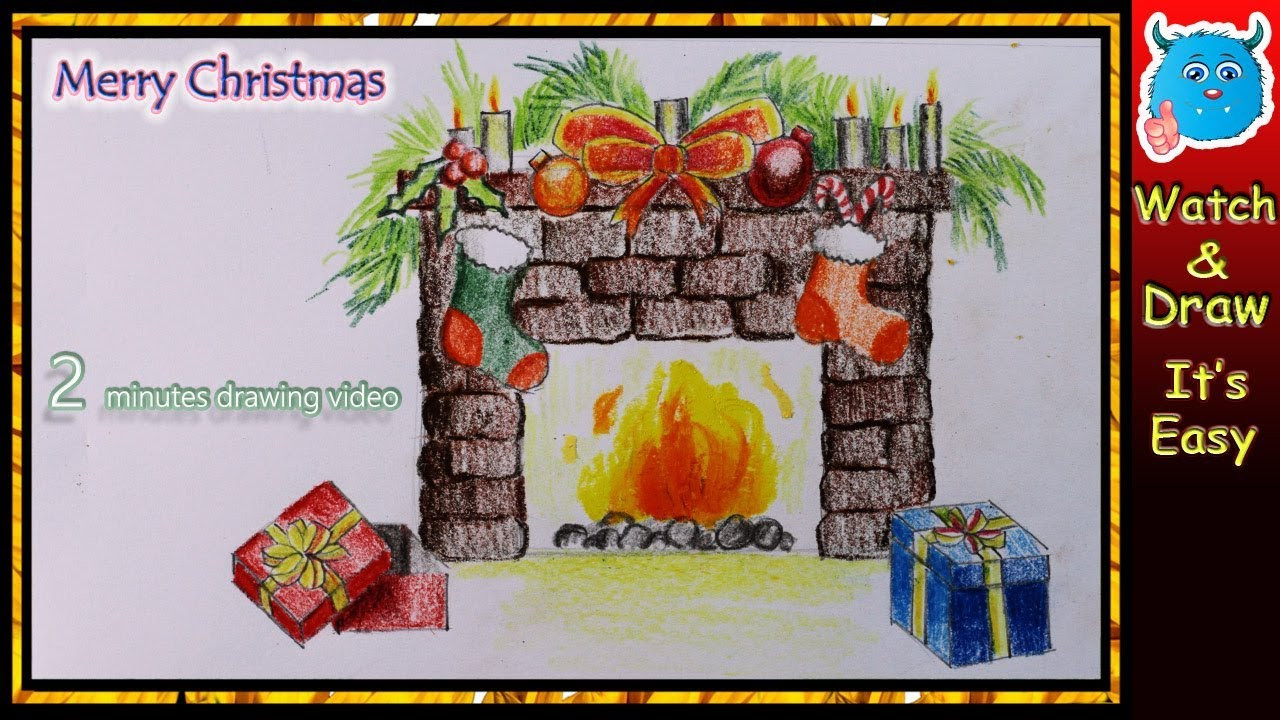 Christmas Fireplace Drawings  Easy Drawing Christmas Decoration of Fireplace for 2017