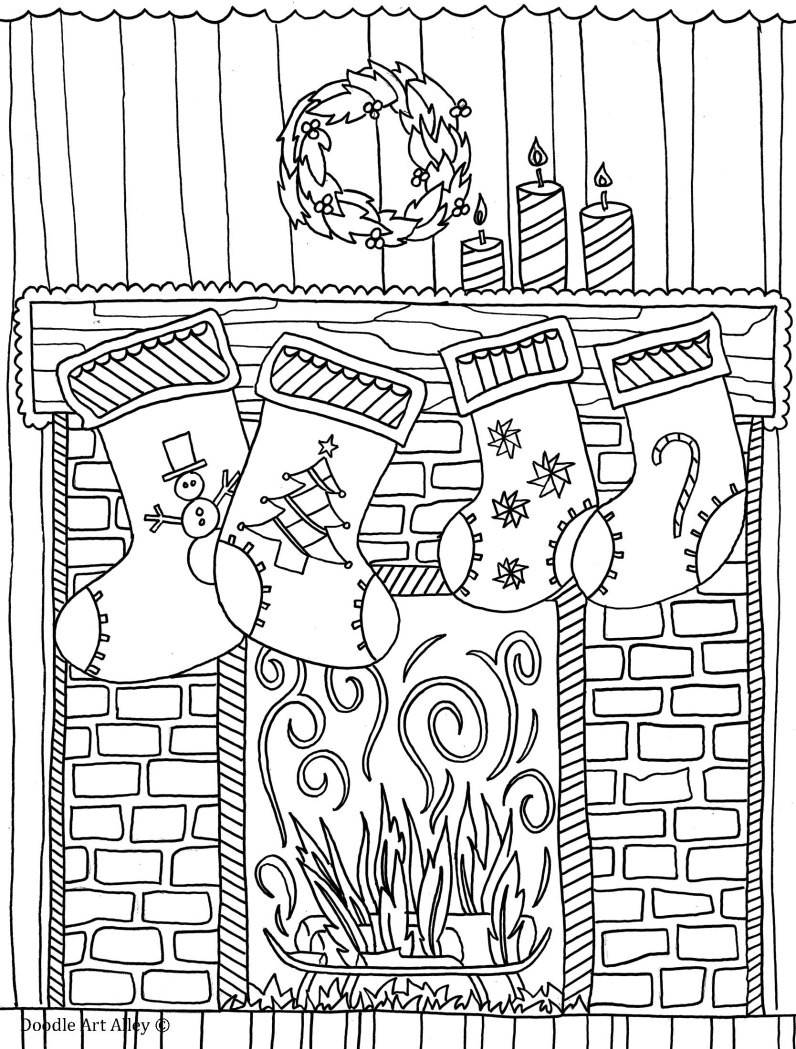 Christmas Fireplace Drawings  Christmas Fireplace Drawing at GetDrawings