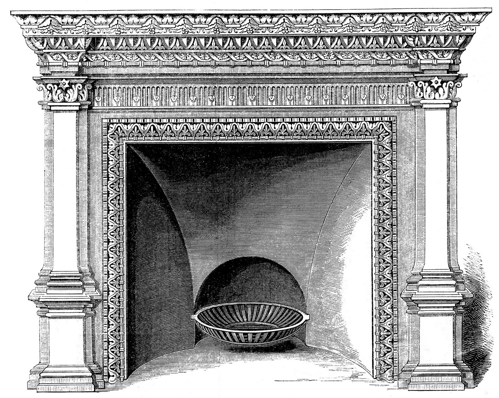 Christmas Fireplace Drawings  Vintage Clip Art Fireplace Mantels Christmas The