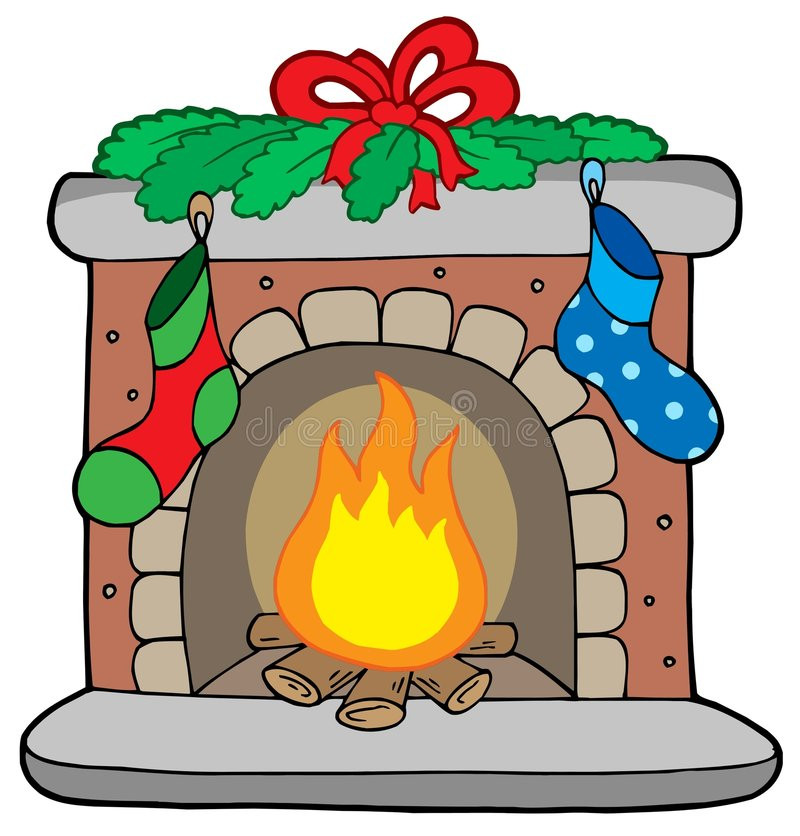 Christmas Fireplace Drawings  Christmas Fireplace With Stockings Stock Vector