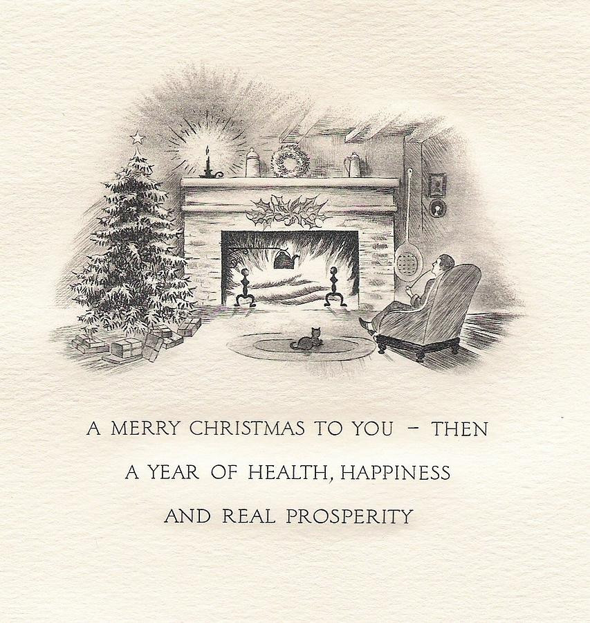 Christmas Fireplace Drawings  Christmas Greeting Card 01 Fireplace Drawing by TUSCAN