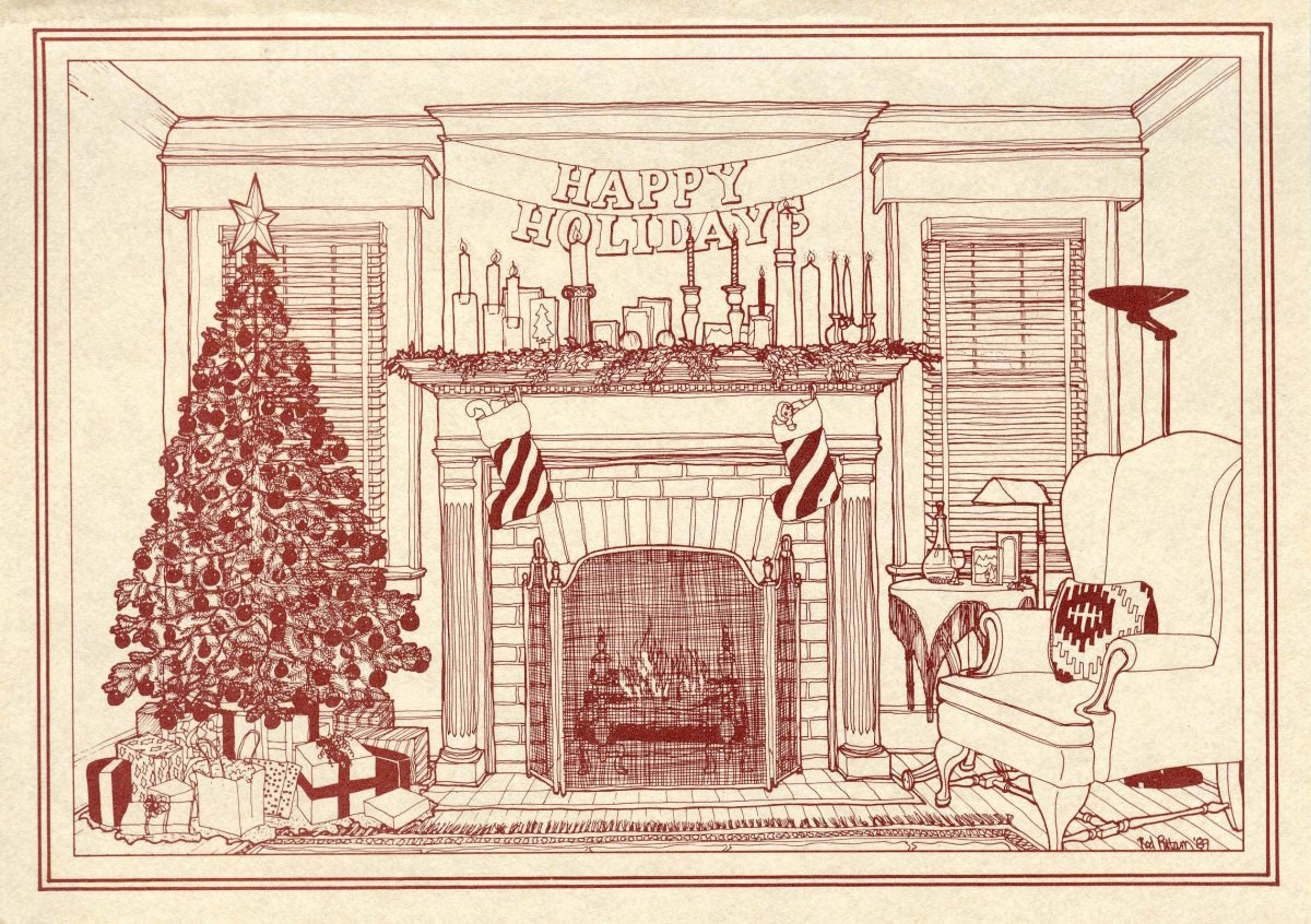 Christmas Fireplace Drawings  Historic fireplace illustration the 1989 Pittam Christmas