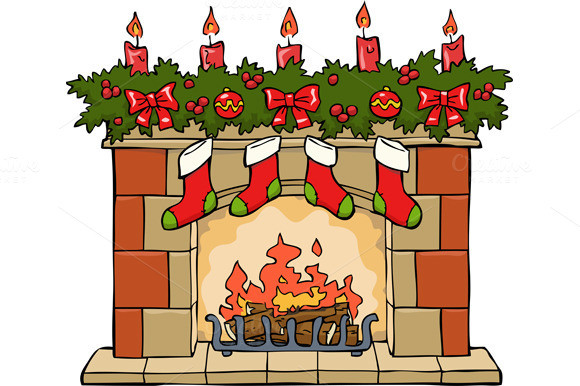Christmas Fireplace Drawings  How To Draw Fireplace With Stockings Designtube