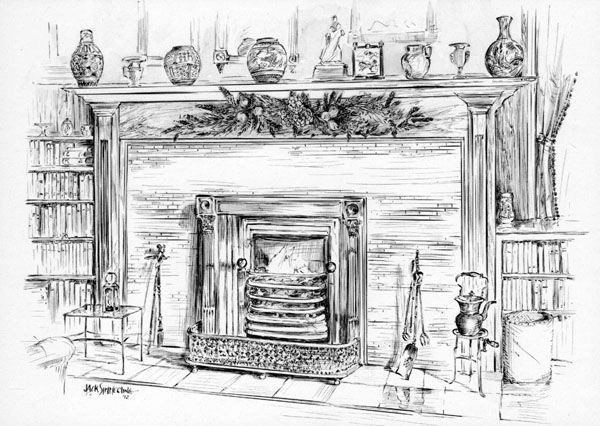Christmas Fireplace Drawings  victorian christmas fireplace drawing Google Search