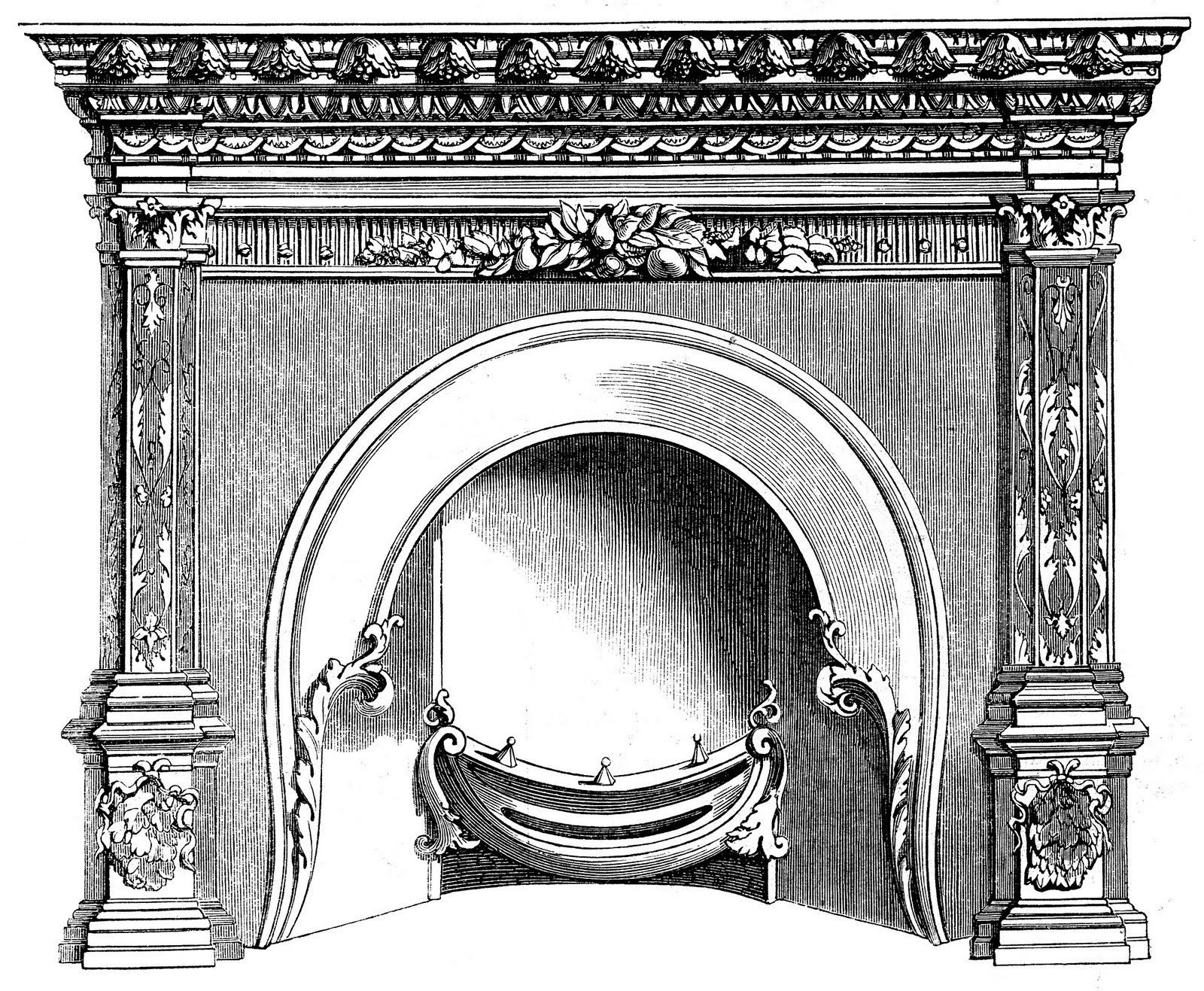 Christmas Fireplace Drawings  Vintage Clip Art Fireplace Mantels Christmas