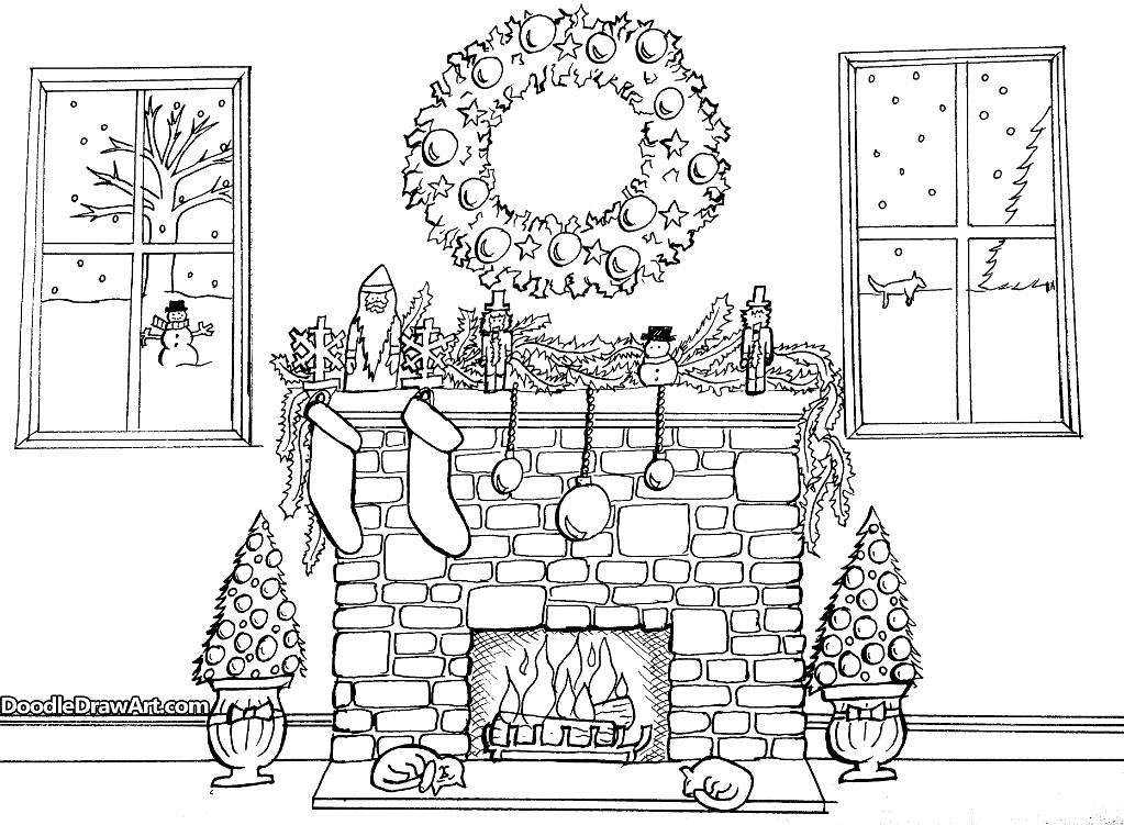 Christmas Fireplace Drawings  Christmas Fireplace Coloring Page by DoodleDrawArt Craftsy