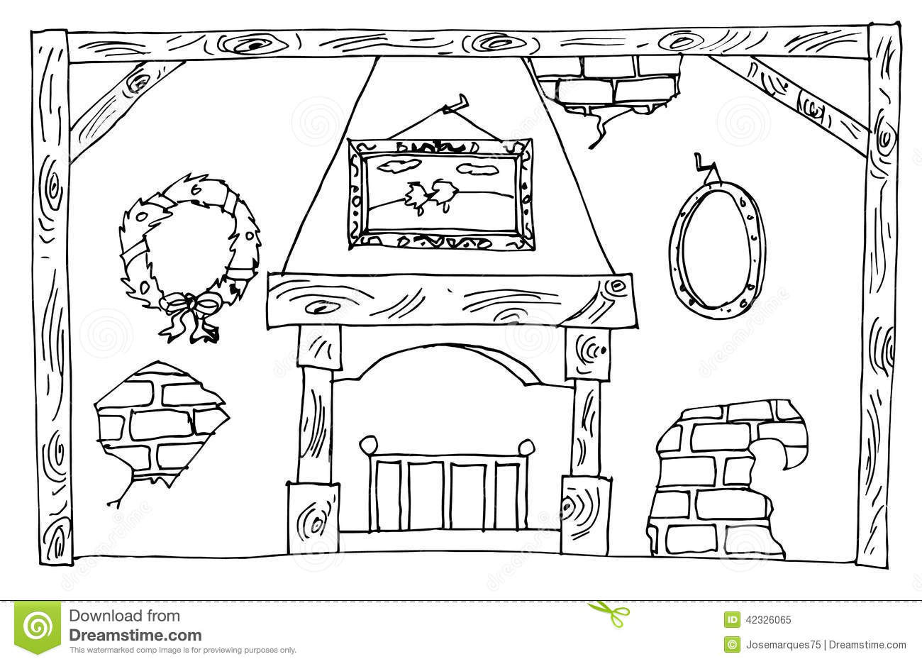 Christmas Fireplace Drawings  Christmas fireplace stock illustration Image of candles