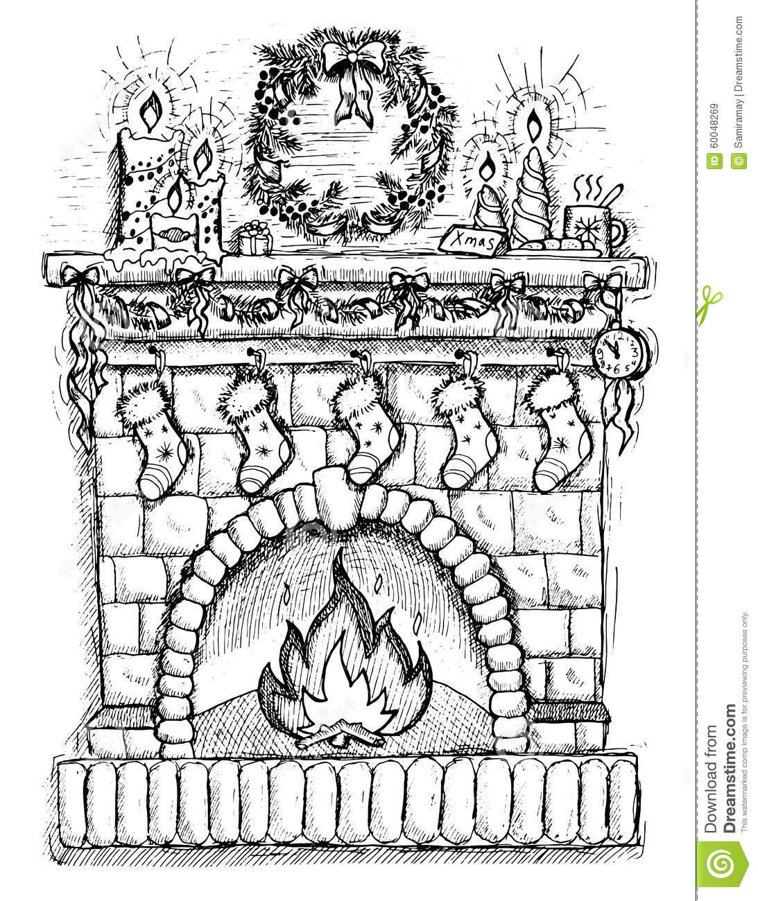 Christmas Fireplace Drawings  Hand Drawn Illustration Christmas Fire Place Stock